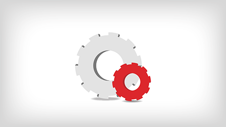 Red and white gear icons